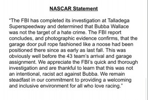Nascar Statement